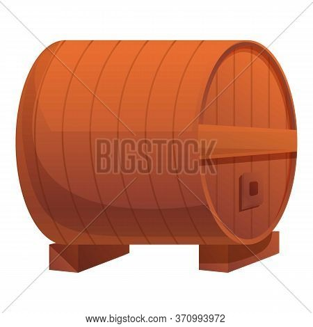 Wood Cognac Barrel Icon. Cartoon Of Wood Cognac Barrel Vector Icon For Web Design Isolated On White