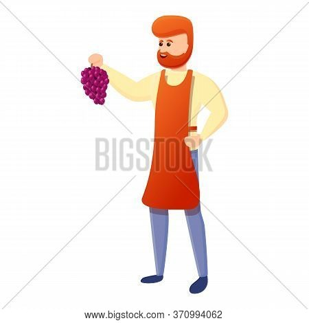 Winemaker With Grapes Icon. Cartoon Of Winemaker With Grapes Vector Icon For Web Design Isolated On