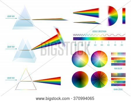 Prism Light Spectrum Rainbow Set With Linear And Circle Shaped Palettes And Glass With Light Rays Ve