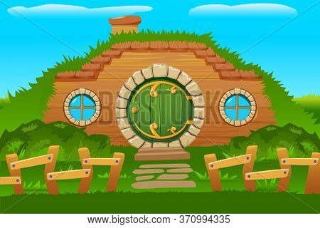 Cartoon Doors Composition With Outside View Of Hobbit House Built In Hill Side With Round Windows Ve