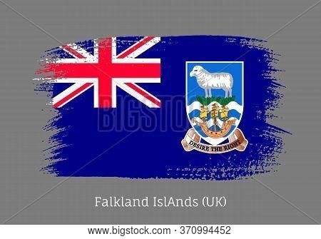 Falkland Islands Official Flag In Shape Of Paintbrush Stroke. Falkland Islands Self-governing Britis