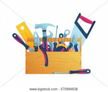 Hand Tool Kits Isolated Icon. Hammer, Pliers, Handsaw, Rasp, Adjustable Spanner, Wrench, Tape Measur