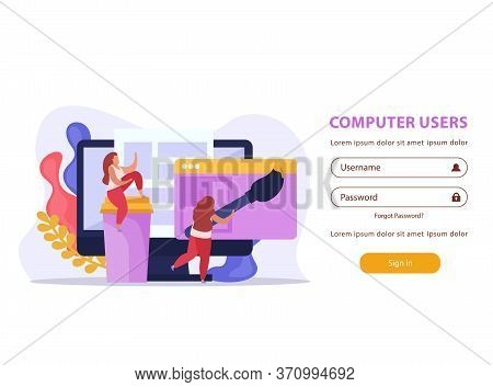 Computer Users Flat Background For Login Page With Username And Password Fields And Web Design Image
