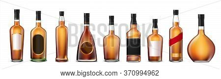 Set With Isolated Brandy Cognac Whiskey Full Glass Bottles Realistic Images With Labels On Blank Bac
