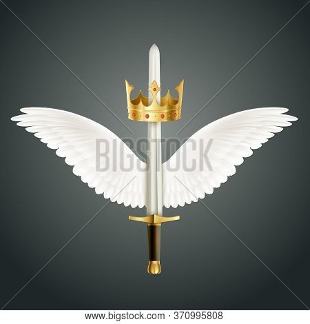 Sword Accompanied By Wings And Crown Realistic Design Symbolizing Guardian Angel Protection  Against