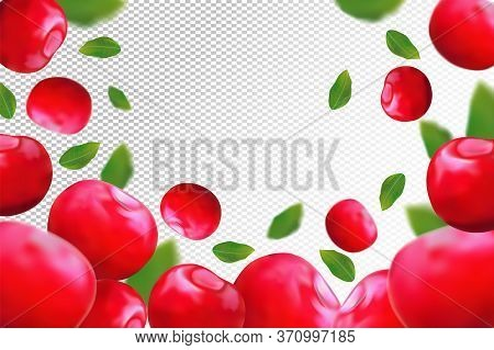 Cherry Background. Fresh Red Cherry With Green Leaf On Transparent Background. 3d Realistic Fruits.