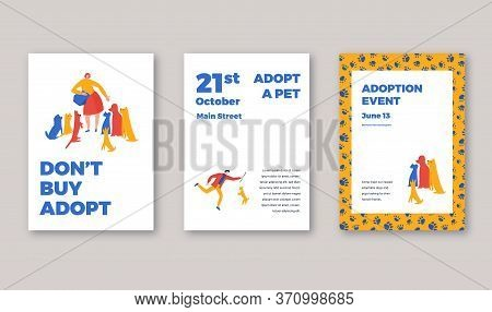 Animal Shelter Adoption Event Posters Template. Vector Iilustration With Typography And Characters,