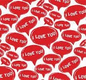 Vector seamless pattern with bubbles. I love you. Format eps8 poster