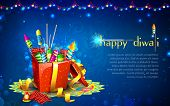 illustration of colorful firecracker in gift box for Diwali poster