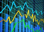 Abstract of financial data featuring line graph, bar graph and random numbers poster