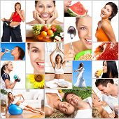 Healthy lifestyle. People diet healthy nutrition fruits fitness poster