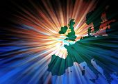 Conceptual image of Europe with stripes leading to center poster