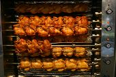 some roasting chicken on the grill (barbecue) poster