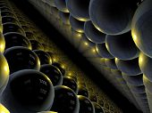 lots of fantasy alien unknown spheres in perspective poster