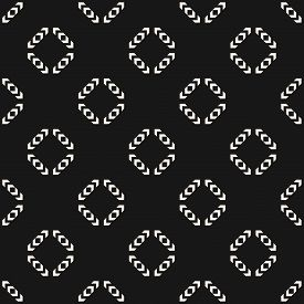 Vector Monochrome Geometric Seamless Pattern. Simple Abstract Ornament With Small Arrows, Diamond Sh