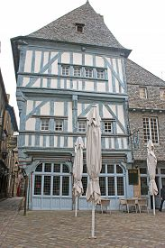 Houses On A Street In Medieval Dinan, France