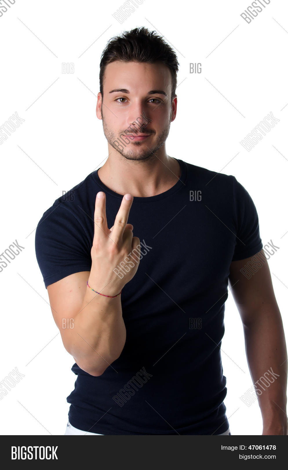 young man doing british sign fuck image & photo | bigstock