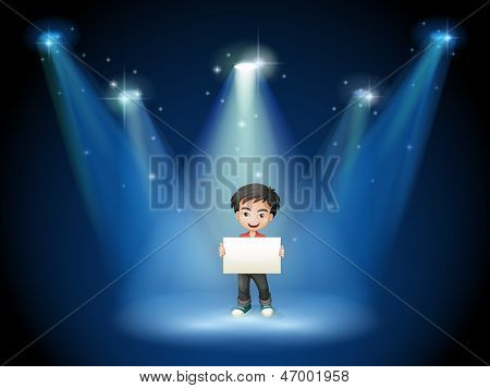 Illustration of a boy holding an empty board with spotlights