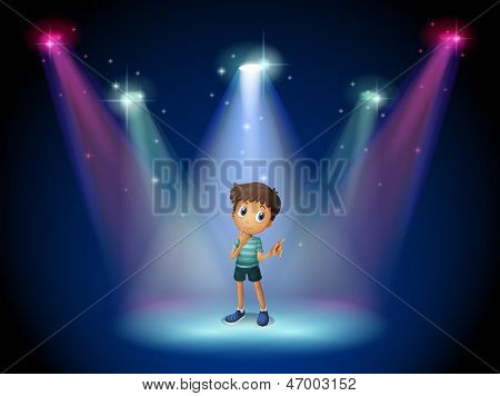 Illustration of a boy acting at the stage with spotlights