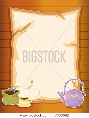 Illustration of a paper with coffee and a kettle