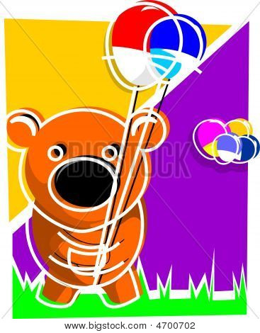 Illustration of a teddy bear holding balloons poster