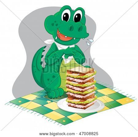 Illustration of a hungry crocodile in front of a big pile of sandwich on a white background