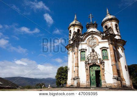 View of the Igreja de Sao Francisco de Assis of the unesco world heritage city of ouro preto in minas gerais brazil poster