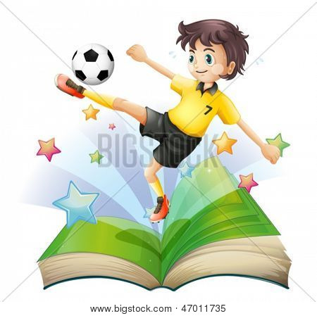 Illustration of an open book with an image of a football player on a white background