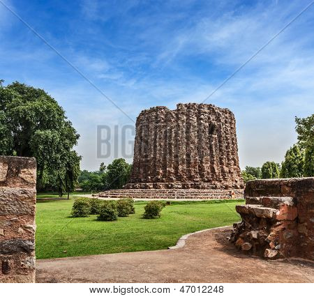 Alai Minar ruins, UNESCO World Heritage Site. Qutub Complex, Delhi, India poster