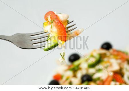 Fork With Fresh Salad