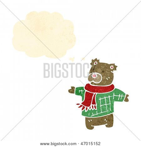 retro cartoon teddy bear with thought bubble poster