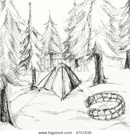Campsite Drawing