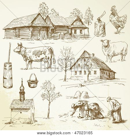 farm, rural houses - drawing