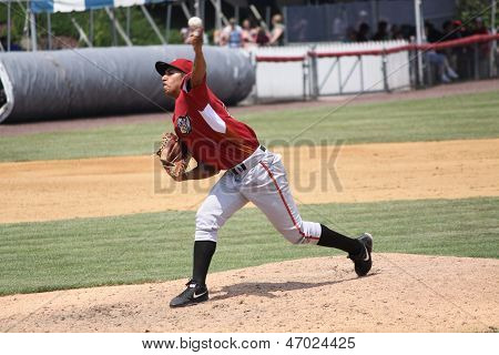 Altoona Curve pitcher Jhonathan Ramos  throws a pitch
