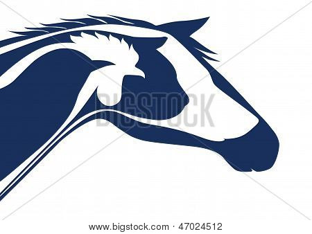 Blue veterinary emblem