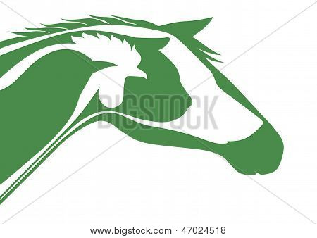 poster of Horse, cat, dog, rooster, bird and veterinary logo