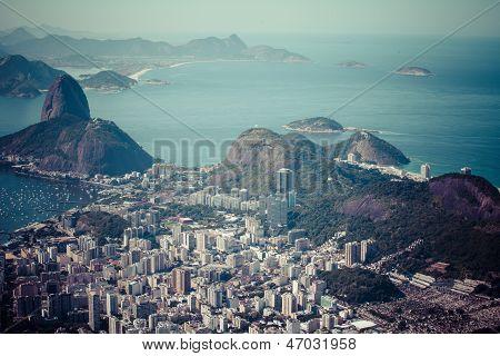 Rio de Janeiro Brazil. Suggar Loaf and Botafogo beach viewed from Corcovado poster