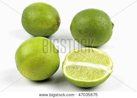 limes on the white background
