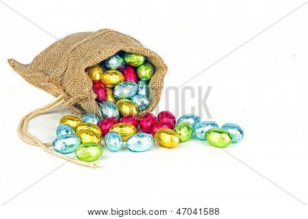 Bag full of easter chocolate eggs