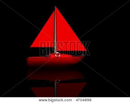 red ship. 3D yacht sport icon on black poster