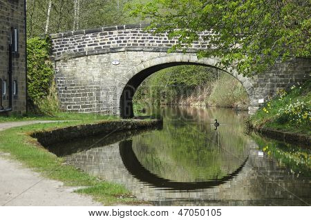 Stone Bridge Over Canal With Duck And Reflections