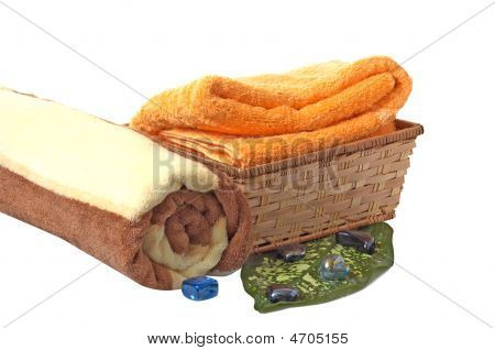 Towels With Wonderful Stones,green Leaf And Basket.