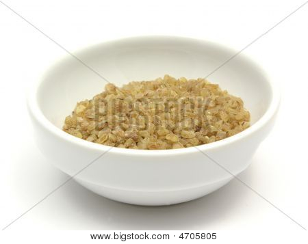 A Close-up View On Bulgur Wheat Groats In A Bowl Of Chinaware