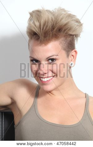 Portrait Of A Fashion Teenager Girl With Punk Style