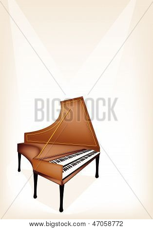 A Retro Harpsichord On Brown Stage Background