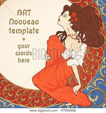 art-nouveau card with lady sitting on floral rich frame poster