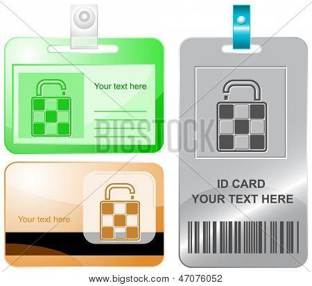 Bag. Vector id cards.