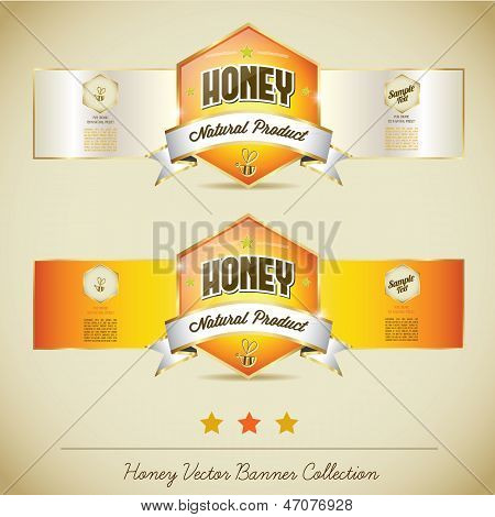Honey Banner Label Background Collection