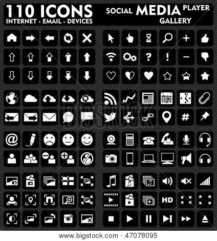Internet & Media - 110 Icons Set