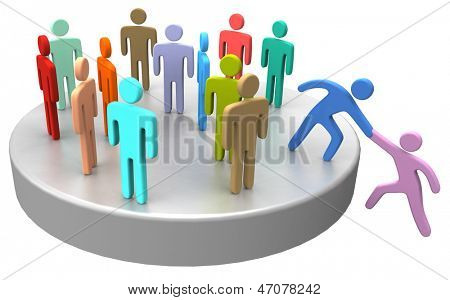 Helping hand to new member or hire join up with large social group company or club